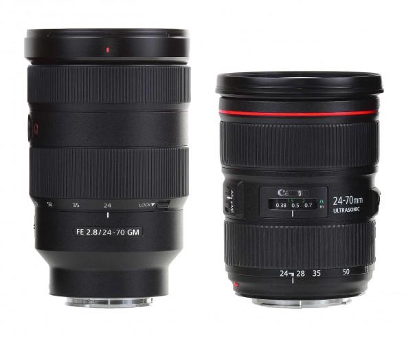 Srovnání. Bezzrcadlový SONY 24-70 GM vs. zrcadlový Canon 24-70 L.
